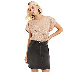 Oasis - Mid pink sequin t-shirt