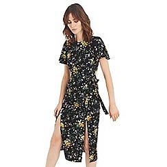 Oasis - Multi black 'Frieda' floral split hem midi dress