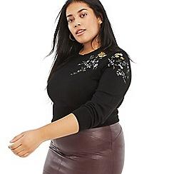 Oasis - Multi black Curve 'Isla' embroidered knit