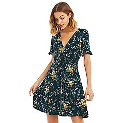Oasis - Multi green 'Madeline' floral skater dress