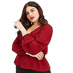 Oasis - Burgundy Curve plain wrap front blouse