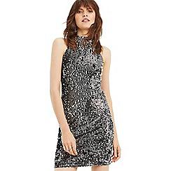 Oasis - Silver sequin velvet 90s halter dress