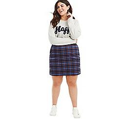 Oasis - Multi Curve blue check 'Poppy' skirt