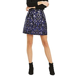 Oasis - Navy floral jacquard 'Marley' mini skirt