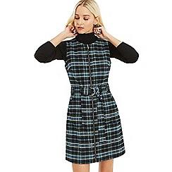 Oasis - Bright Green 'Cassie' Check Zip Through Dress