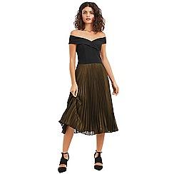 Oasis - Multi black metallic bardot pleat midi dress