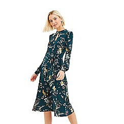 Oasis - Multi Green 'Jasmine' Tie Side Choker Dress
