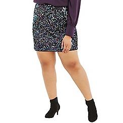 Oasis - Multi black Curve sequin tinsel mini skirt