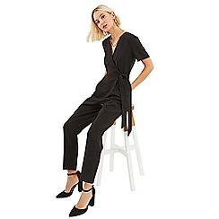 Oasis - Black wrap front tie side jumpsuit