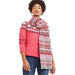 Oasis - Mid grey 'Sybil' fair isle scarf