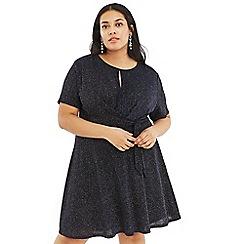 Oasis - Aqua Curve Glitter Tie Side Dress