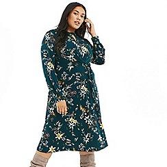 Oasis - Multi Green Curve 'Jasmine' Tie Side Dress
