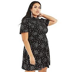 Oasis - Multi Black Curve Glitter Star Dress