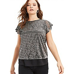 Oasis - Silver Sequin Plisse Tee
