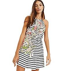 Oasis - Multi Stripe and Palm Halter Dress