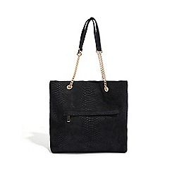 Oasis Black Suede Chain Handle Tote Bag