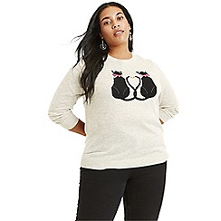 Oasis - Mid grey curve love kittens jumper