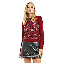 Oasis - Multi Red Winter Renaissance Rose Woven Knit