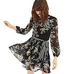 Oasis - Multi black Winter 'Jasmine' pleated skater dress