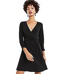 Oasis - Black plain twist wrap skater dress