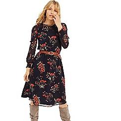 Oasis - Multi Blue Autumn Garden Midi Dress