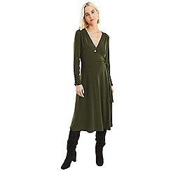 Oasis - Khaki plain crepe wrap d ring dress