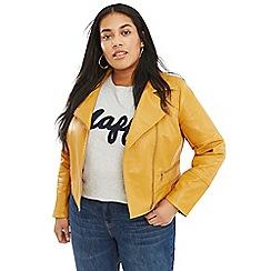 Oasis - Ochre curve faux leather biker jacket