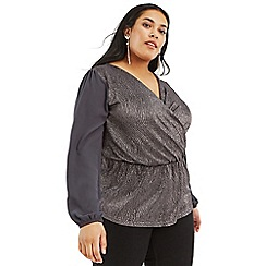 Oasis - Dark Grey Curve Crinkle Foil Wrap Top
