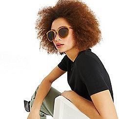 Oasis - Ochre 'Olivia' Round Metal Arm Sunglasses