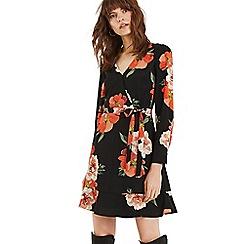 Oasis - Multi black bold bloom v neck skater dress