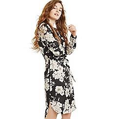 Oasis - Multi black bold bloom midi shirt dress