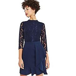 Oasis - Navy lace top flounce shift dress