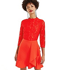 Oasis - Mid red lace top flounce shift dress