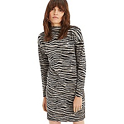 Oasis - Mid grey tiger funnel neck cosy dress