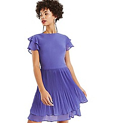 Oasis - Mid blue chiffon pleated skater dress