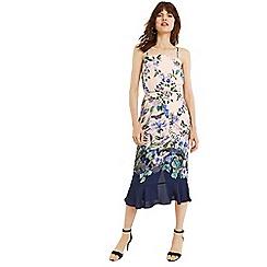 Oasis - Multi natural bloom print square neck column dress
