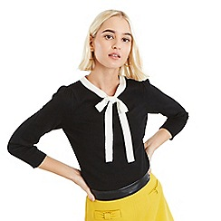 Oasis - Black and white peony bow jumper