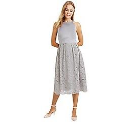 Oasis - Pale grey satin bodice lace midi dress