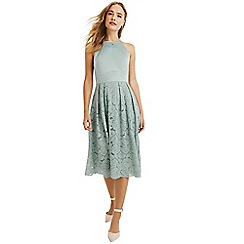 Oasis - Pale green satin bodice lace midi dress
