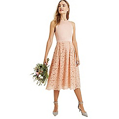 Oasis - Dusky pink satin bodice lace midi dress