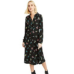 Oasis - Multi Black Flora Tie Front Midi Dress