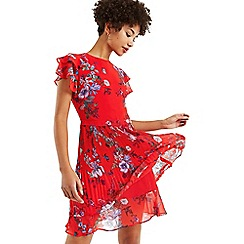 Oasis - Multi red bloom chiffon pleated skater dress