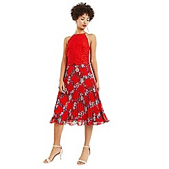 Oasis - Multi red bloom lace top pleated midi dress