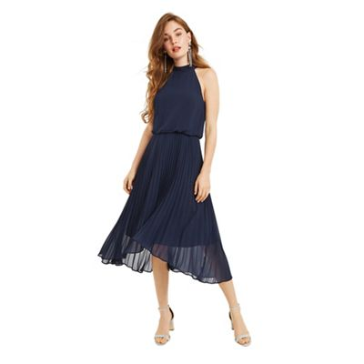 Oasis   Navy Chiffon Pleated 'megan' Midi Dress by Oasis