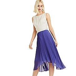 Oasis - Multi Blue 2 In 1 Pleated Midi Dress
