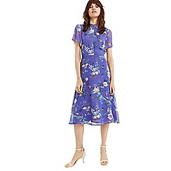 Oasis - Multi blue bloom chiffon high neck midi dress