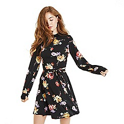 Oasis - Multi black bloom high neck blouse dress