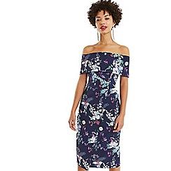 Oasis - Multi Blue Bloom Bardot Pencil Dress