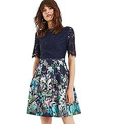Oasis - Multi Blue Lace Top Bloom Skater Dress
