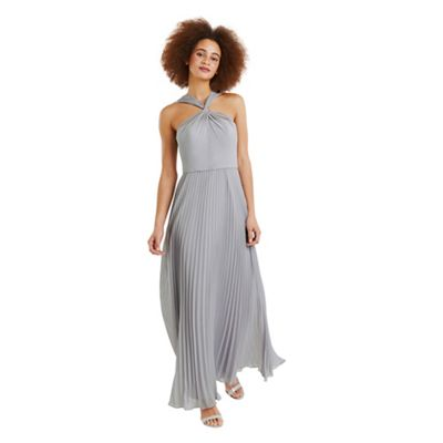 Oasis   Pale Grey Twist Neck Pleated Maxi Dress by Oasis